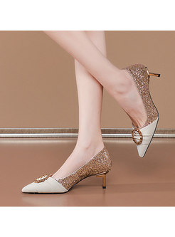 Pointed Toe Sequin Patchwork Low-fronted Heels
