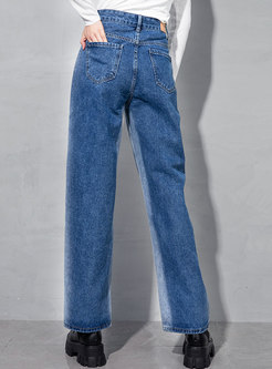 High Waisted Straight Washed Denim Pants