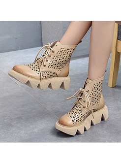 Rounded Toe Lace-up Openwork Platform Ankle Boots