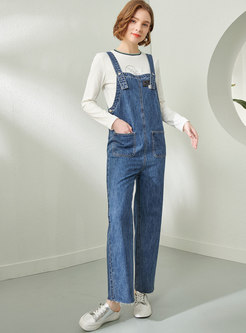 High Waisted Denim Straight Overalls With Pockets