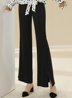 Solid High Waisted Split Straight Pants