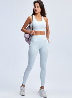 Scoop Neck High Waisted Yoga Tracksuit