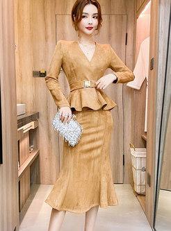 V-neck Ruffle Belted Slim Peplum Skirt Suits