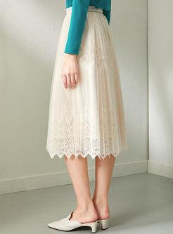 High Waisted A Line Lace Midi Skirt