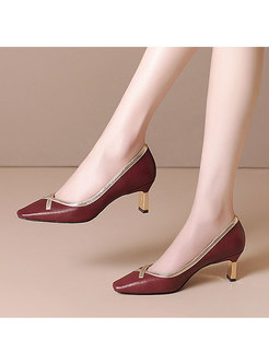 Square Toe Low-fronted Spring/Fall Heels