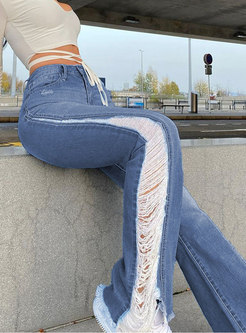 High Waisted Ripped Flare Denim Pants