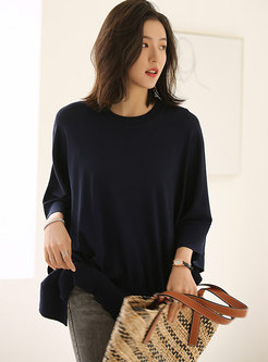 Plus Size Batwing Sleeve Pullover T-shirt