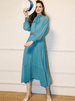 Mock Neck Bowknot Pleated Maxi Dress