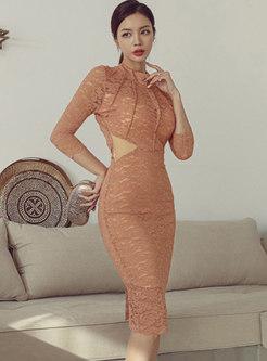 Mock Neck Backless Split Lace Bodycon Dress