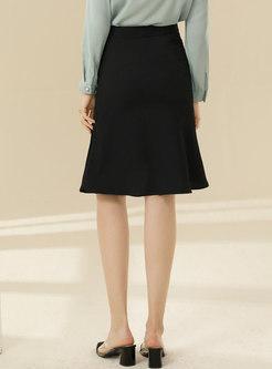 High Waisted Ruffle Sheath Peplum Skirt