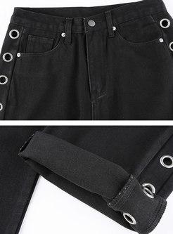 Black High Waisted Openwork Straight Pants