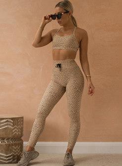 Polka Dot High Waisted Tight Yoga Tracksuit