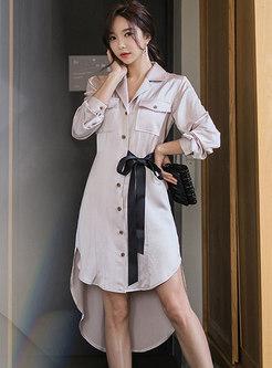Lapel Single-breasted Asymmetric Midi Shirt Dress
