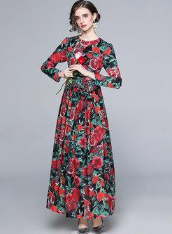 Bowknot Long Sleeve Print Big Hem Maxi Dress