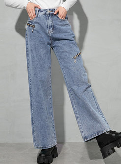 High Waisted Straight Solid Denim Pants