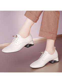 Rounded Toe Lace-up Chunky Heel Shoes