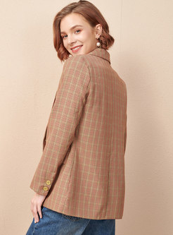 Notched Plaid Double-breasted Slim Blazer