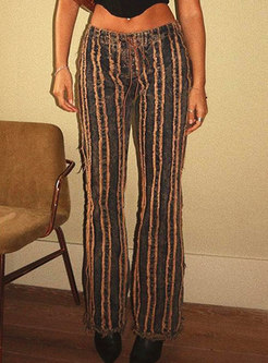 High Waisted Stripe Fringed Straight Pants