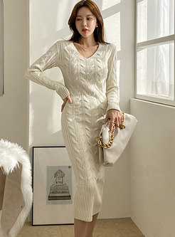 V-neck Long Sleeve Cable-knit Sweater Dress