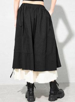 Color-blocked High Waisted Long Skirt