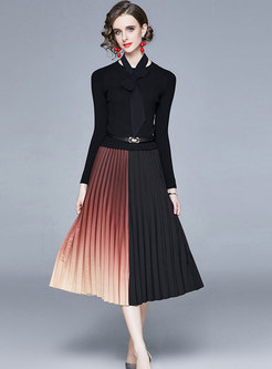 Color-blocked Knitted Patchwork Pleated Dress