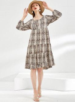 Animal Print A Line Knee-length Dress