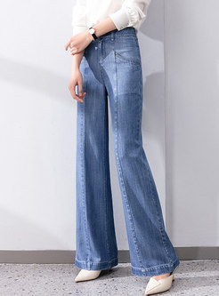 High Waisted Solid Denim Wide Leg Pants