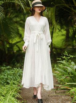 Long Sleeve High Waisted A Line Big Hem Dress