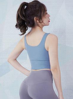 Scoop Neck Sleeveless Zip-front Fitness Top