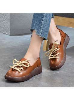 Rounded Toe Platform Lace-up Loafers