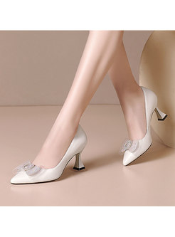 Pointed Toe Bowknot Low-fronted Heels