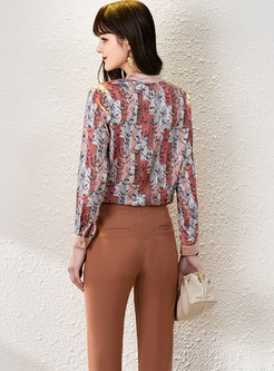 Bowknot Print Ribbon Blouse & High Waisted Flare Pants