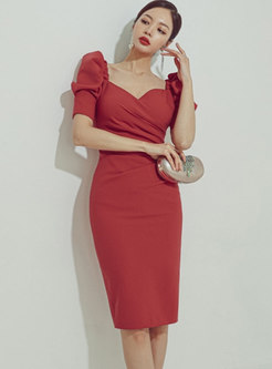 Puff Sleeve V-neck Knee-length Bodycon Dress