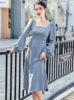 Square Neck Lantern Sleeve Split Midi Dress