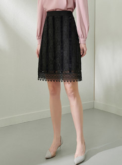 Black High Waisted Openwork Lace Skirt