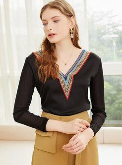 V-neck Long Sleeve Openwork Pullover T-shirt