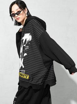 PLUS Size Stripe Print Pullover Hoodie