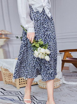 High Waisted Print A Line Long Skirt