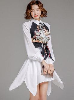Long Sleeve Print Patchwork Shirt Dress
