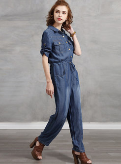 Casual Lapel Drawstring Straight Denim Jumpsuits