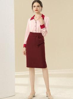Solid High Waisted Split Pencil Skirt