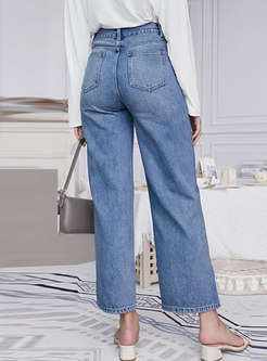 Casual Blue Split Denim Wide Leg Pants