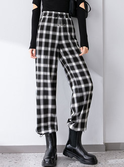 High Waisted Straight Plaid Casual Pants