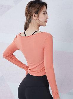 Long Sleeve Drawstring Tight Yoga T-shirt