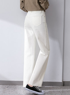 White High Waisted Denim Wide Leg Pants