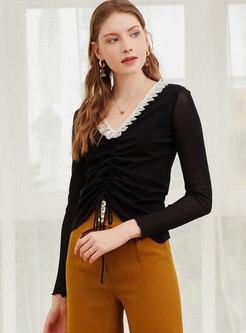 Lettuce V-neck Drawstring Pullover T-shirt