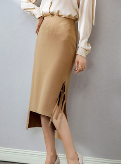 High Waisted Asymmetric Fringed Sheath Skirt