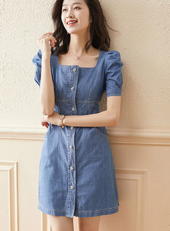 Square Neck Puff Sleeve Denim A Line Mini Dress