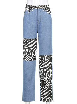 High Waisted Zebra Patchwork Denim Straight Pants