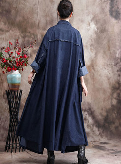 Plus Size Denim Straight Long Trench Coat